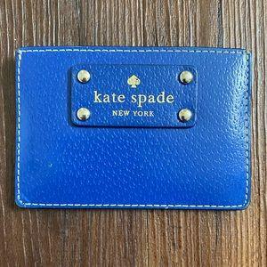 Kate Spade blue gold tan leather card holder